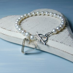 Sterling Silver Secret Heart And Pearl Bracelet 6