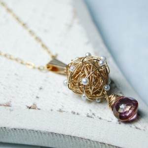 Gold Fill Bird's Nest Entwined Pearl & Gemstone Necklace 7 psd copy