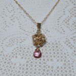 Gold Fill Bird's Nest Entwined Pearl & Gemstone Necklace1 copy