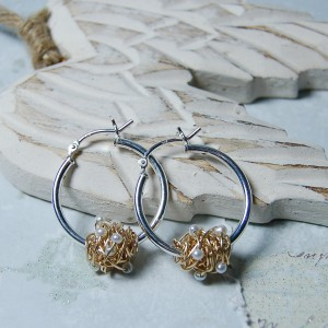 Gold Fill Entwined Pearl Hoop Earrings 4 copy