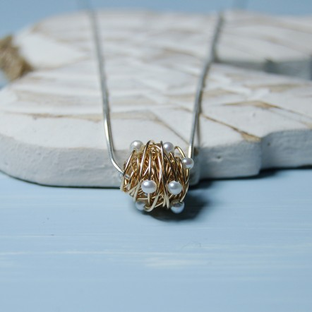 Gold Fill Entwined Pearl Necklace 6 copy