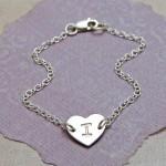 IndiviJewels Girls Sterling Silver Personalised Single Heart Bracelet