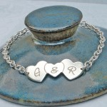 Personalised Silver Three Hearts Bracelet with & In Centre 2