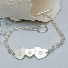 Personalised Silver Three Hearts Bracelet with & In Centre Heart