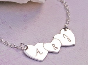 Personalised Silver Three Hearts Necklace With & In Centre
