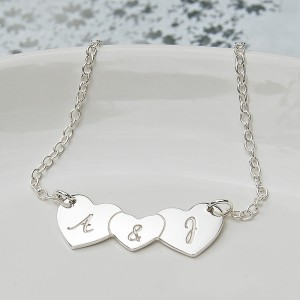 Personalised Silver Three Hearts Necklace With & In Centre Main