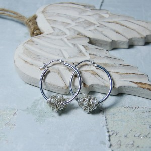 Sterling Silver Entwined Pearl Hoop Earrings 2 copy
