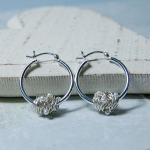 Sterling Silver Entwined Pearl Hoop Earrings 4 copy