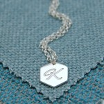 IndiviJewels Personalised Silver Small Hexagon Necklace