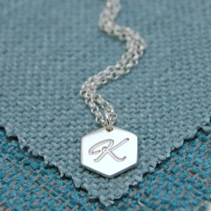 IndiviJewels Personalised Silver Small Hexagon Necklace with Initial