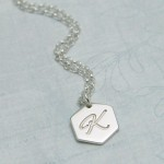 IndiviJewels Personalised Silver Small Hexagon with Initial Necklace 2