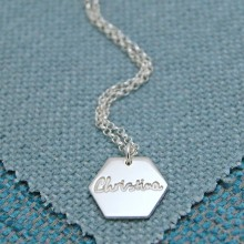 IndiviJewels Personalised Silver Large Hexagon Necklace with Name
