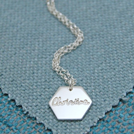 IndiviJewels Personalised Silver Large Hexagon Necklace