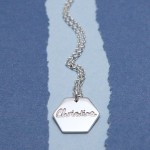 IndiviJewels Personalised Silver Large Hexagon Necklace with Name 2