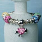 Personalised sterling silver heart & Swarovski bead bracelet 8 copy