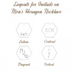 IndiviJewels Layouts for Initials on Men's Hexagon Necklace