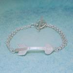IndiviJewels Personalised Silver Arrow Heart Bracelet
