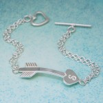 IndiviJewels Personalised Silver Arrow Heart Bracelet Arrow
