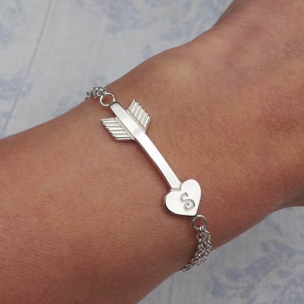 IndiviJewels Personalised Silver Arrow Heart Bracelet on wrist