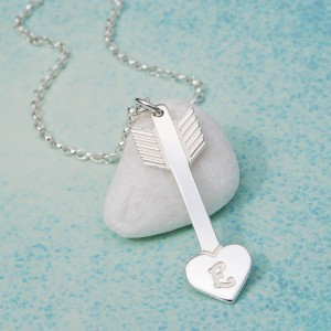 IndiviJewels Personalised Sterling Silver Arrow with Heart Necklace