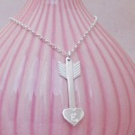 IndiviJewels Personalised Silver Arrow Heart Necklace Main