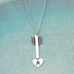 IndiviJewels Personalised Silver Arrow Heart Necklace Oxidised