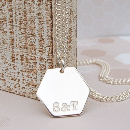 Mens Personalised Silver Hexagon Initials Necklace