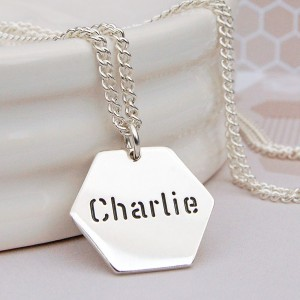 Mens Personalised Silver Hexagon Name Necklace