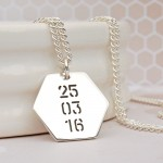 Mens Personalised Silver Hexagon Name Necklace Back