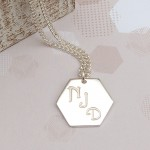 Mens Personalised Silver Hexagon Three Initials Necklace alt