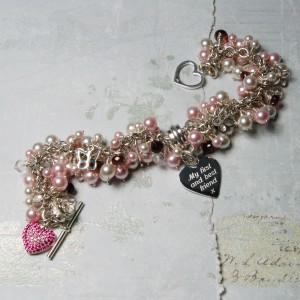Personalised Heart & Swarovski Pearl Cluster Bracelet 5 copy