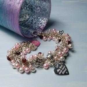 Personalised Heart & Swarovski Pearl Cluster Bracelet 6 copy