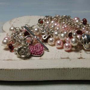Personalised Heart & Swarovski Pearl Cluster Bracelet 7 copy