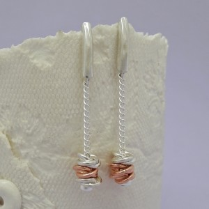 IndiviJewels Rose Gold and Silver Entwined Rings Earrings