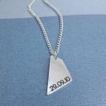 IndiviJewels Mens Personalised Geometric Shard Necklace Back Alt