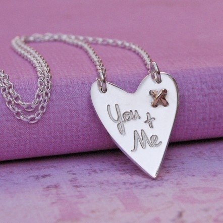 IndiviJewels You and Me Silver Heart with Kiss Necklac