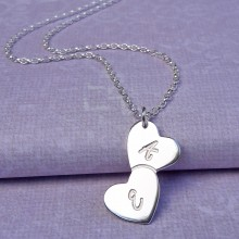 IndiviJewels Personalised Silver Tumbling Hearts Necklace