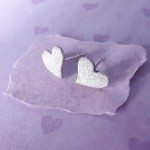 Sterling Silver Frosted Heart Earrings 3