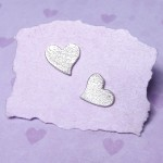 Sterling Silver Frosted Heart Earrings 4