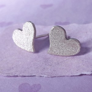 Sterling Silver Brushed Heart Earrings Main