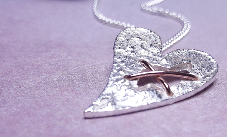 Sterling Silver Tattered Heart Necklace 2