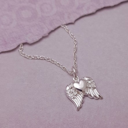 Suz Angel Wings with Heart Necklace Main